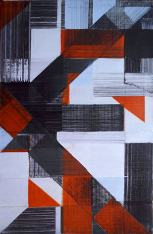 urban mindscape by arindam bose, Geometrical Painting, Acrylic on Board, Brown color