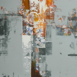 untitled by Stalin P J, Abstract Painting, Acrylic on Canvas, Gray color