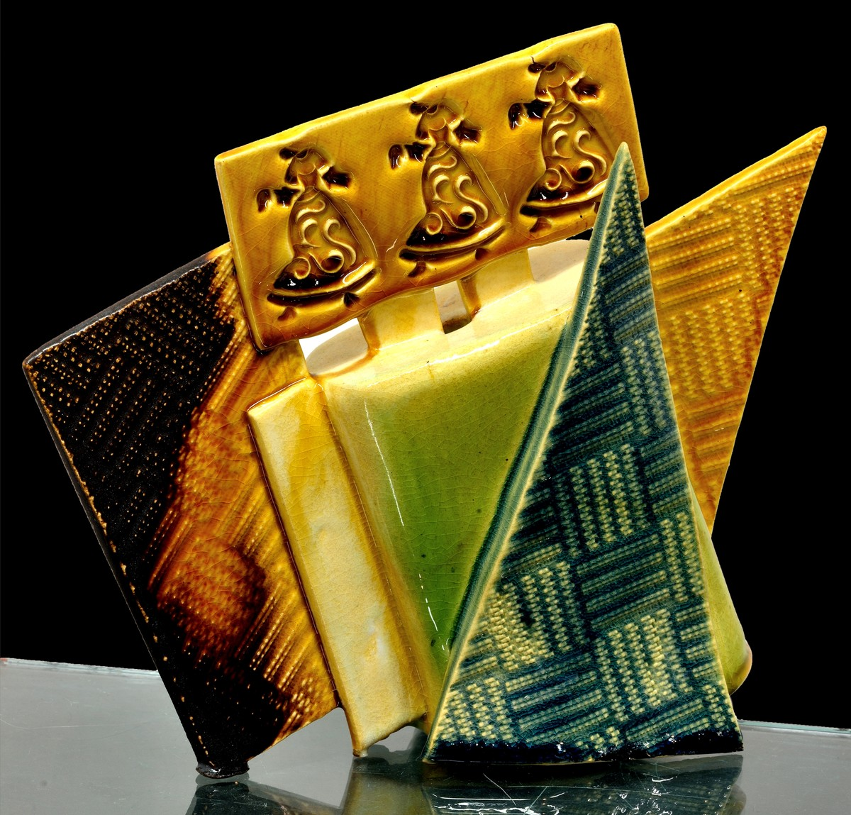 Divine Rhythm by Usha Garodia, Art Deco Sculpture   3D, Ceramic, Orange color