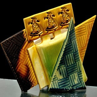 Divine Rhythm by Usha Garodia, Art Deco Sculpture | 3D, Ceramic, Orange color