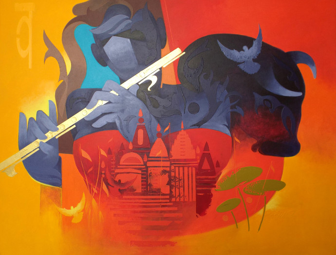 music of banaras - 3 by RANJIT SINGH KURMI, Expressionism Painting, Acrylic on Canvas, Orange color