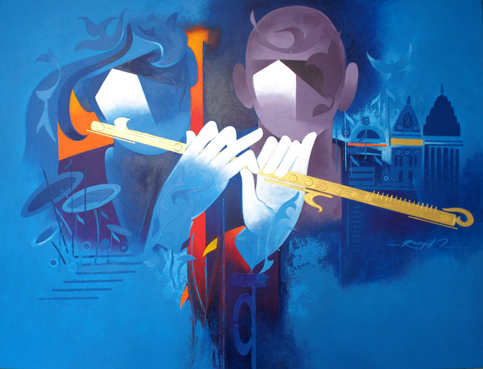 music of banaras - 2 by RANJIT SINGH KURMI, Expressionism Painting, Acrylic on Canvas, Blue color