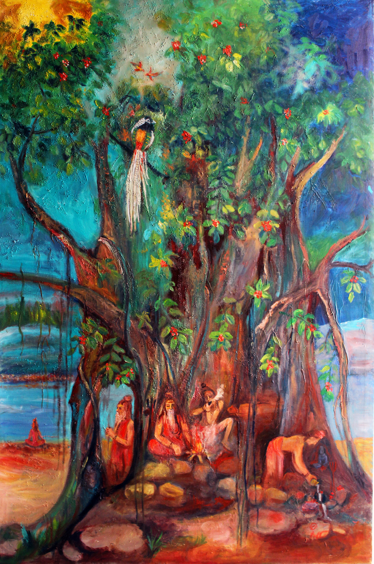 Ganga-1 by Uma Bardhan, Impressionism Painting, Oil on Canvas, Green color