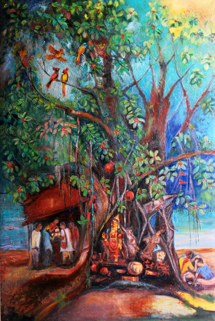 Ganga-2 by Uma Bardhan, Impressionism Painting, Oil on Canvas, Brown color