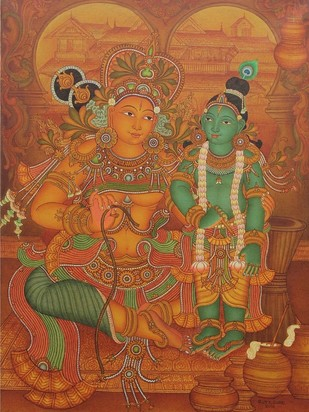 Yashadha Krishna by Roy K John, Traditional Painting, Acrylic on Canvas, Brown color