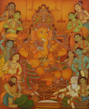 Ganapathi Pooja by Roy K John, Abstract, Traditional Painting, Acrylic on Canvas, Brown color