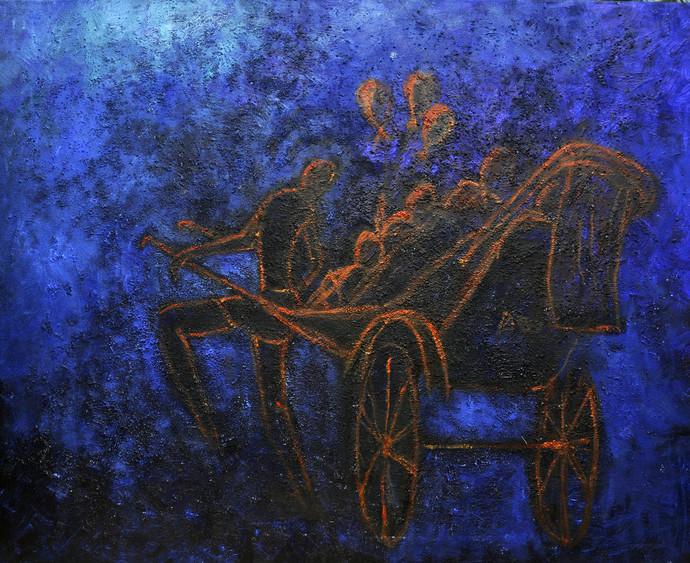 Yagna-2 by Uma Bardhan, Impressionism Painting, Acrylic on Canvas, Blue color