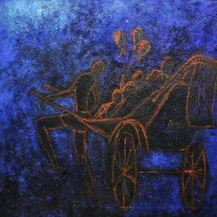 Yagna-2 by Uma Bardhan, Impressionism Painting, Acrylic on Canvas, Blue color