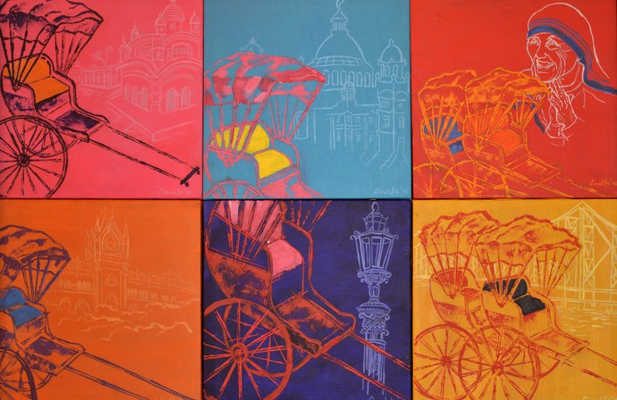 Kolkata Kaleidoscope by Anukta Mukherjee Ghosh, Pop Art Painting, Acrylic on Canvas, Red color