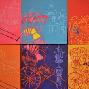 Kolkata Kaleidoscope by Anukta M Ghosh, Pop Art Painting, Acrylic on Canvas, Red color
