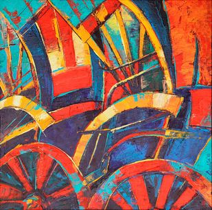 Rickshaw Abstract Digital Print by Anukta M Ghosh,Geometrical