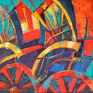 Rickshaw Abstract by Anukta M. Ghosh, Geometrical Painting, Acrylic on Canvas, Brown color