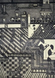 Assembly line life by Tanuja Munakala, Geometrical Printmaking, Etching on Paper, Gray color