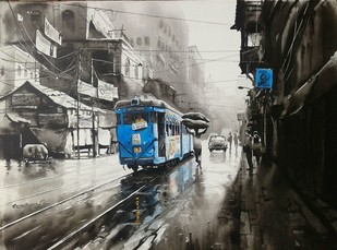 KOLKATA CITY SCAPE AB 20 by Arpan bhowmik, Impressionism, Impressionism Painting, Acrylic on Canvas, Gray color