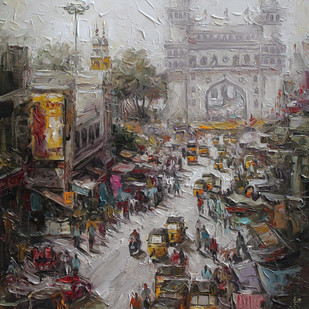 Charminar st, Hyderabad by Iruvan Karunakaran, Realism Painting, Acrylic on Canvas, Gray color