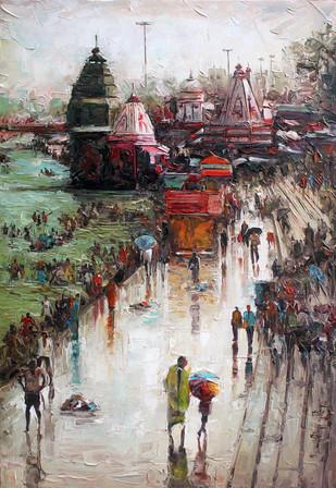 Wet Haridwar by Iruvan Karunakaran, Realism Painting, Acrylic on Canvas, Brown color