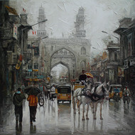 wet Charminar st_01 by Iruvan Karunakaran, Realism Painting, Acrylic on Canvas, Gray color