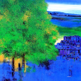 untitled by Bhaskar Rao, Impressionism Painting, Acrylic on Canvas, Green color