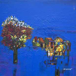 untitled by Bhaskar Rao, Impressionism Painting, Acrylic on Canvas, Blue color