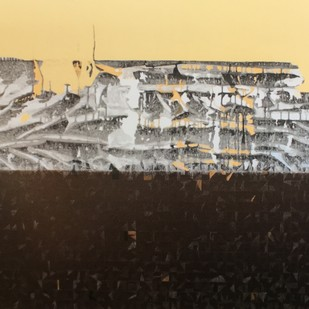Barren land by Ankur Khare, Abstract Painting, Oil & Acrylic on Canvas, Beige color