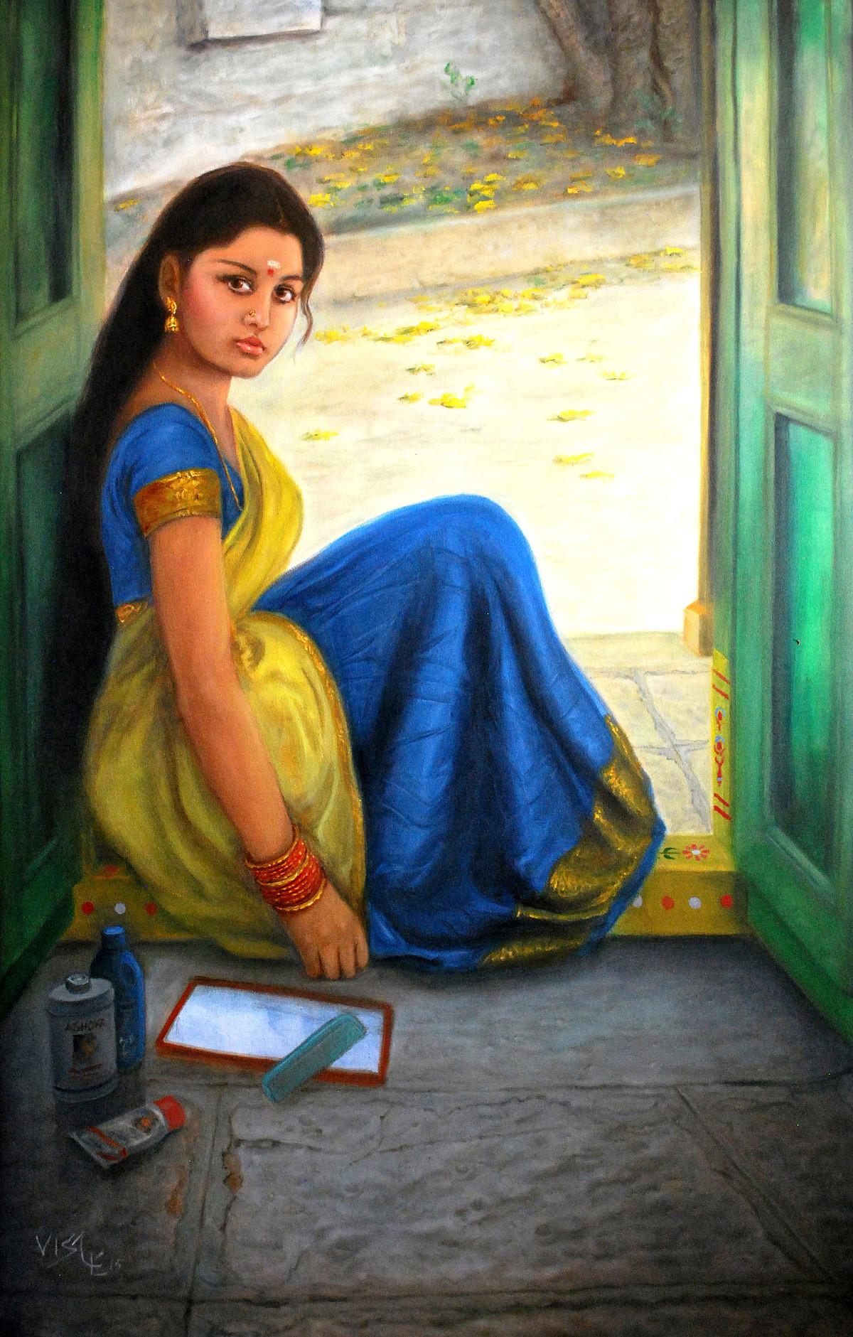indian girl hair combing by artist vishalandra dakur realism