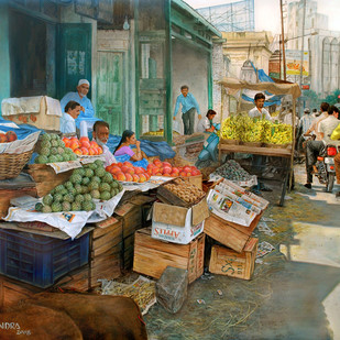 Fruit market in Abids by Vishalandra Dakur, Photorealism Painting, Oil on Canvas,
