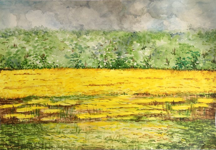 Sarson by Kajal Nalwa, Impressionism Painting, Watercolor on Paper, Beige color