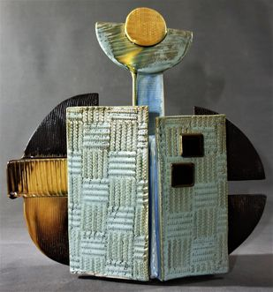 FRAGMENTS OF LIFE by Usha Garodia, Art Deco Sculpture | 3D, Ceramic, Gray color