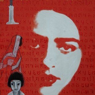 Portrait of Amrita Sher-gil-III by Durga Kainthola, Pop Art Painting, Mixed Media on Canvas, Red color