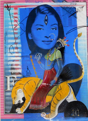 The actress as Abhisarika by Durga Kainthola, Pop Art Printmaking, Acrylic & Ink on Paper, Blue color