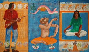 peace and spirituality in the wounded civilisation by Durga Kainthola, Pop Art Painting, Mixed Media on Canvas, Brown color