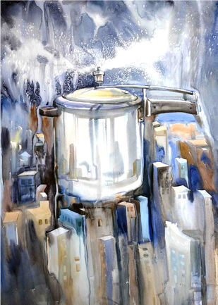 urbanization by pankaj kumar chouhan, Impressionism Painting, Watercolor on Paper, Gray color