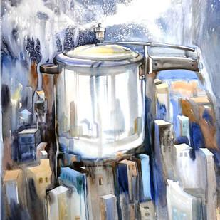 urbanization by pankaj kumar chouhan, Impressionism Painting, Watercolor on Paper, Gray color