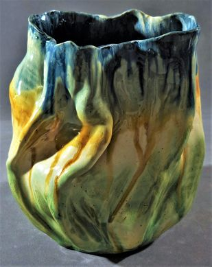 BETWEEN HEAVEN AND EARTH by Usha Garodia, Art Deco Sculpture | 3D, Ceramic, Green color