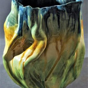 BETWEEN HEAVEN AND EARTH by Usha Garodia, Art Deco Sculpture | 3D, Ceramic, Green color