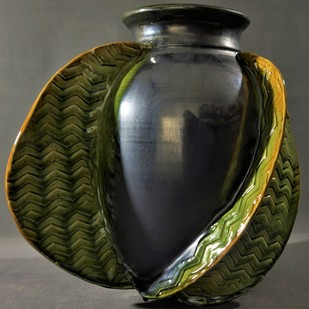REFLECTIONS OF THE SOUL by Usha Garodia, Art Deco Sculpture | 3D, Ceramic, Green color