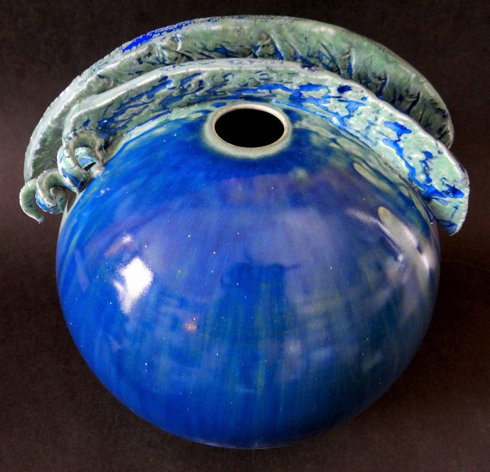 MELTING WITH THE OCEAN by Usha Garodia, Art Deco Sculpture | 3D, Ceramic, Blue color