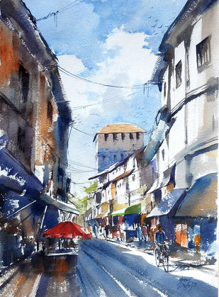 City scape by Sunil Linus De, Impressionism Painting, Watercolor on Paper, Cyan color
