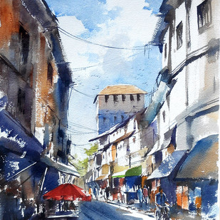 City scape by Sunil Linus De, Impressionism Painting, Watercolor on Paper, Cyan color
