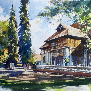 Bolgatti palace by Sunil Linus De, Impressionism Painting, Watercolor on Paper, Green color