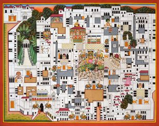 Pichwai Painting (MAP) by Unknown Artist, Traditional Painting, Acrylic on Paper, Brown color