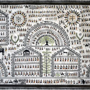 Saura Painting by Unknown Artist, Traditional Painting, Stone Colour on Cloth, Gray color