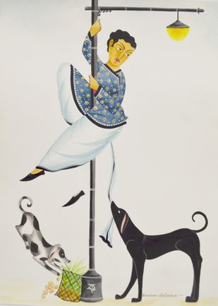 Babu with street dogs by Bhaskar Chitrakar, Folk Painting, Tempera on Paper, Gray color