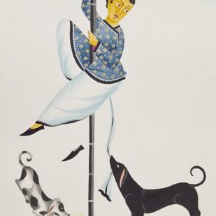 Babu with street dogs by Bhaskar Chitrakar, Folk Painting, Tempera on Paper, Gray color