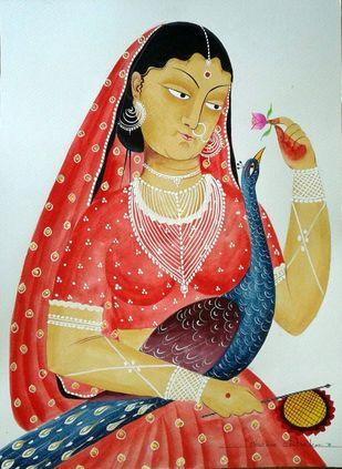 Woman of leisure by Bhaskar Chitrakar, Folk Painting, Tempera on Paper, Gray color