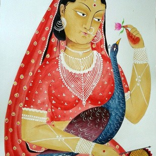 Woman of leisure by Bhaskar Chitrakar, Folk Painting, Tempera on Paper, Gray color