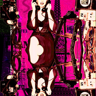 MONROE ON PHONE by Sanuj Birla, Digital Digital Art, Digital Print on Canvas, Brown color