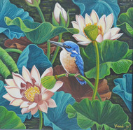 Kingfisher in a lotus pond by Vani Chawla, Impressionism Painting, Acrylic on Canvas, Green color