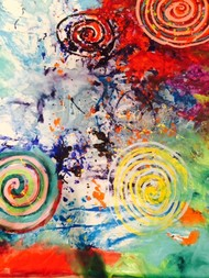 Love All by Anu Vittal, Abstract Painting, Acrylic & Ink on Canvas, Brown color