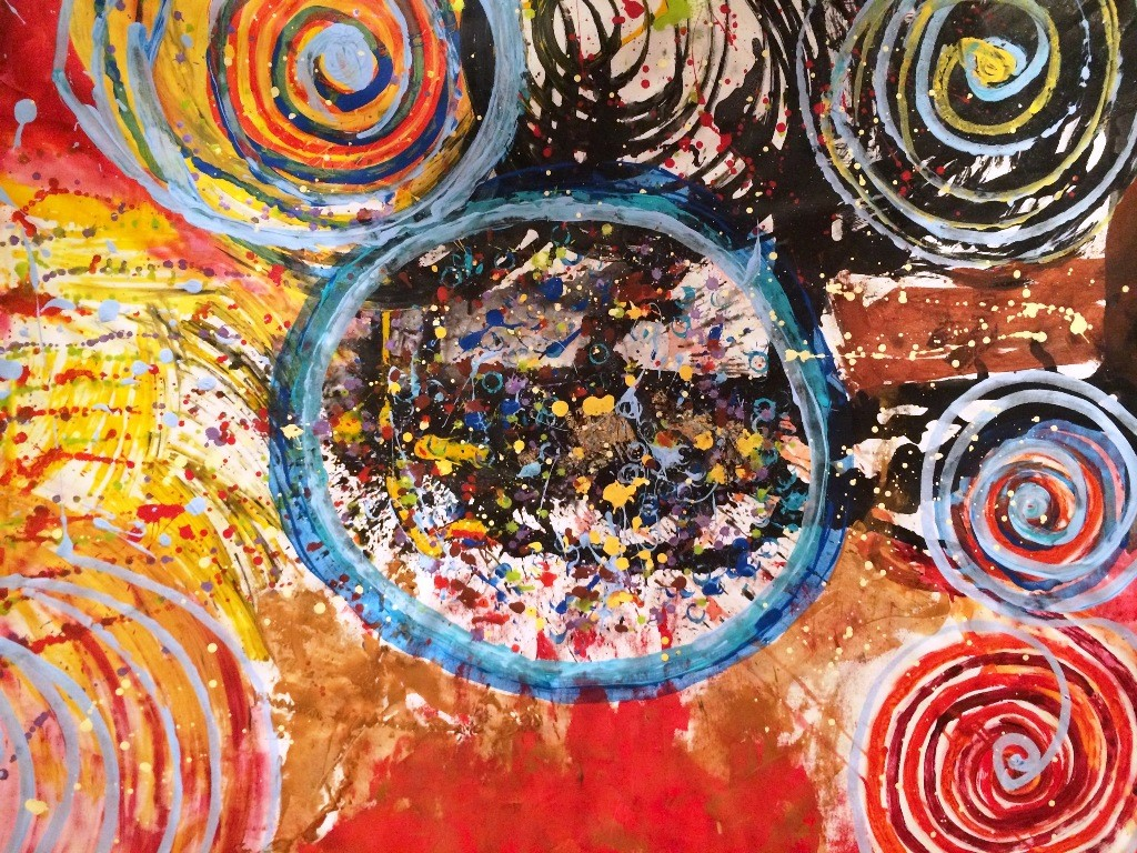 Childhood Circles of Love by Anu Vittal, Abstract Painting, Acrylic & Ink on Canvas, Brown color